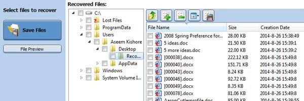 guardar archivos recuperados
