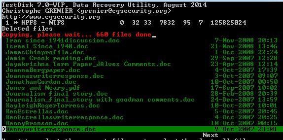 copiando archivos borrados