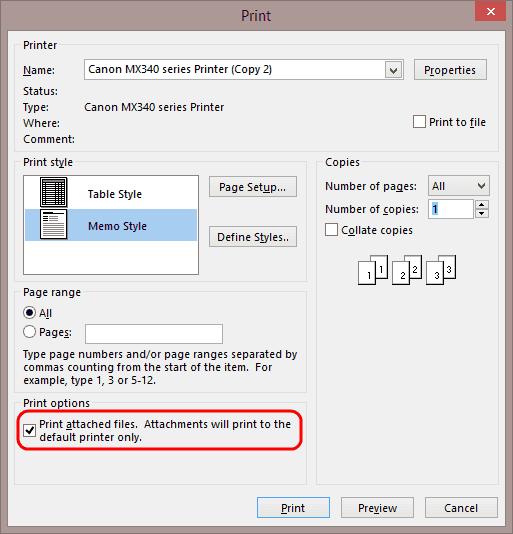 Opción Imprimir archivos adjuntos de Outlook 2013