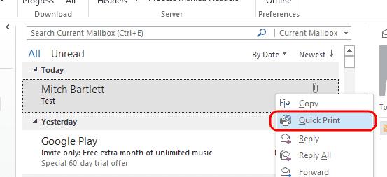Opción de impresión rápida de Outlook 2013