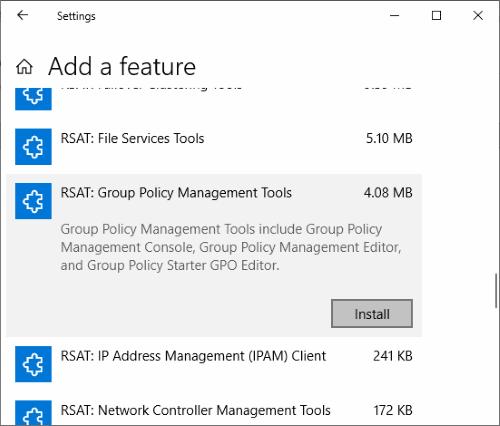 Windows 10 Instalar herramientas de administración de políticas de grupo