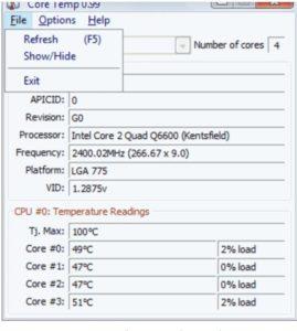 Captura de pantalla temporal de CPU Core