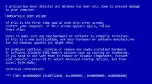 fallo cpu blue screen