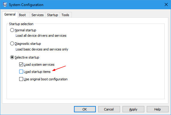 Elementos de inicio de carga general de configuración del sistema: cómo limpiar el inicio de Windows 10 sin todos los programas de inicio y los servicios de terceros deshabilitados