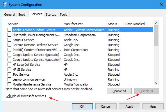 Los servicios de configuración del sistema deshabilitan todos los servicios que no son de Microsoft: cómo limpiar el arranque en Windows 10 sin todos los programas de inicio y los servicios de terceros deshabilitados
