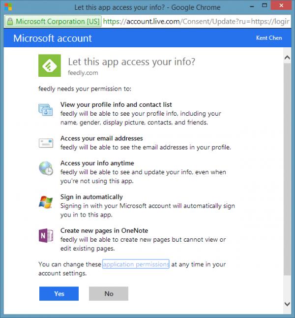 Cuenta de Microsoft Permita que esta aplicación acceda a su información 600x646 - Guardar sus artículos de Feedly directamente en OneNote
